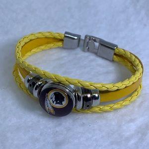 Washington Redskins Indian chief leather bracelet